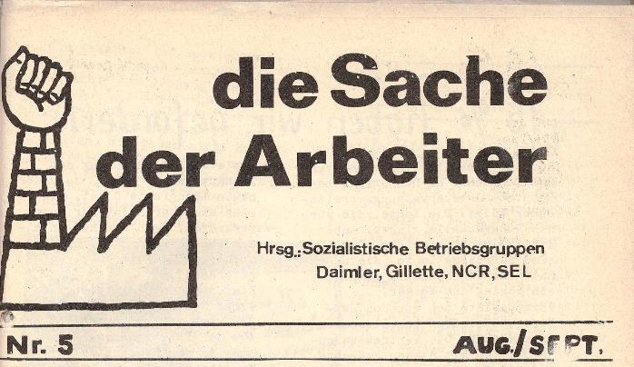 Ausschnitt aus: Die Sache der Arbeiter, Nr. 5, Aug./Sept. 1970, Seite 1