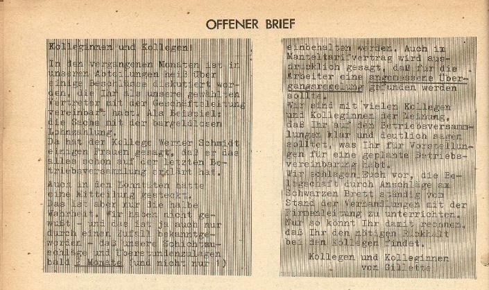 Ausschnitt aus: Die Sache der Arbeiter, Nr. 8, April 1971, Seite 4