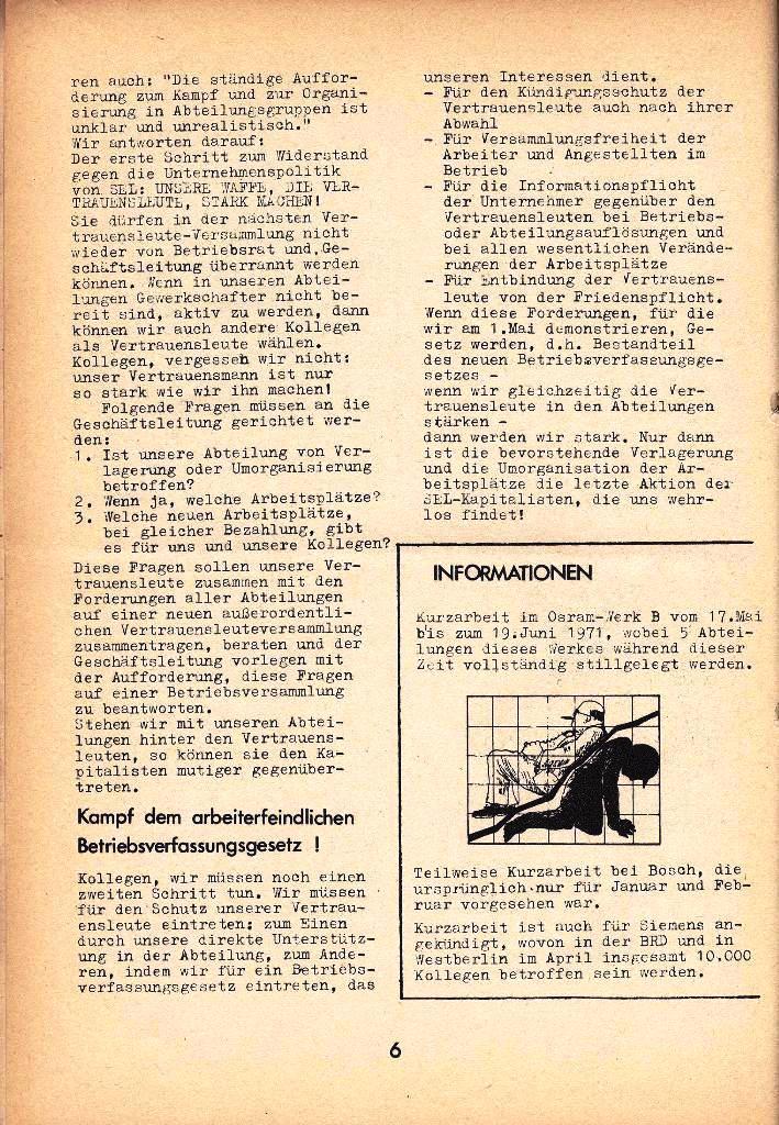 Ausschnitt aus: Die Sache der Arbeiter, Nr. 8, April 1971, Seite 6