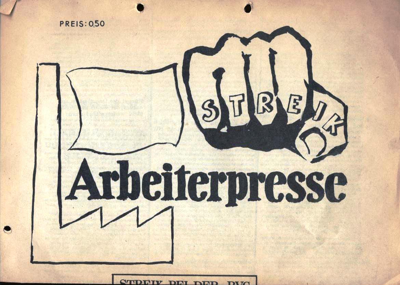 Arbeiterpresse, hg. von der Arbeiterkonferenz, Redaktion: BVG_Betriebsgruppe (Vorderseite, oben)