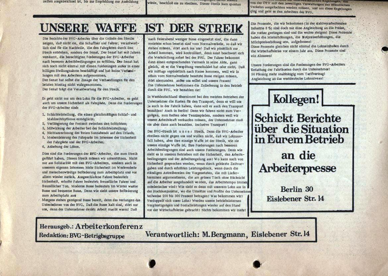 Arbeiterpresse, hg. von der Arbeiterkonferenz, Redaktion: BVG_Betriebsgruppe (Rückseite, unten)