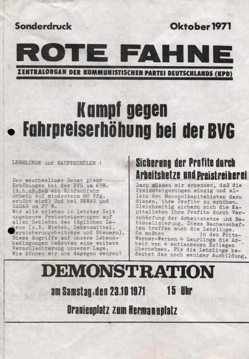 Rote Fahne, Sonderdruck: Kampf gegen Fahrpreiserhöhung bei der BVG (Oktober 1971, S. 1)