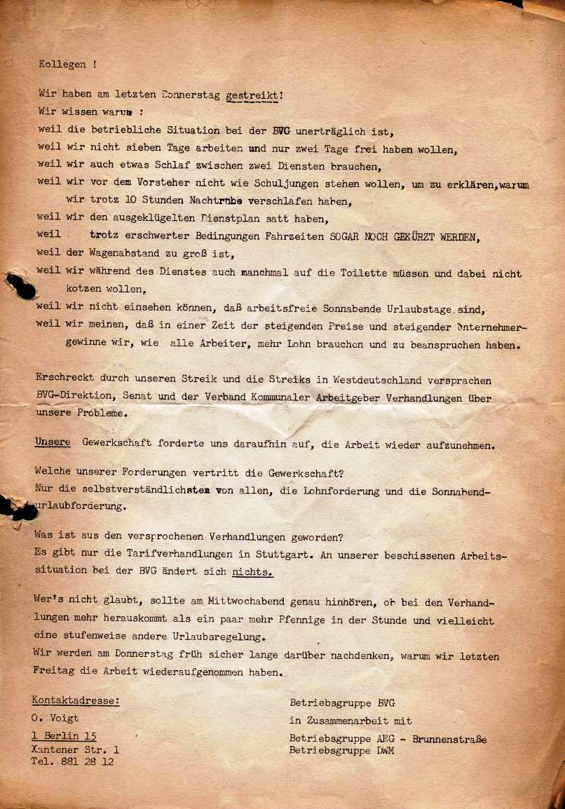Flugblatt der Betriebsgruppe BVG