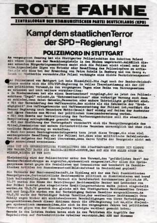 Rote Fahne, Zentralorgan der KPD: Kampf dem staatlichen Terror der SPD_Regierung! Polizeimord in Stuttgart