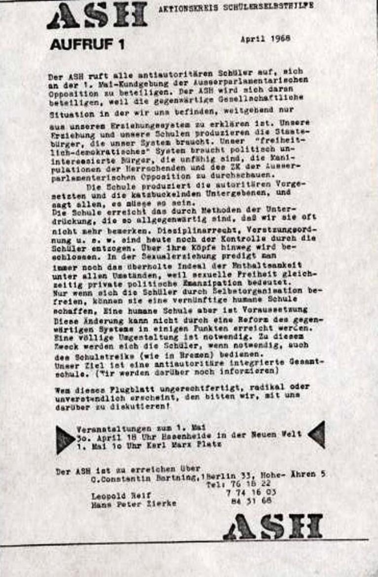 ASH, April 1968, Aufruf zum 1. Mai