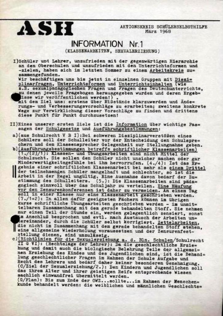 ASH, März 1968, Nr. 1, Seite 1
