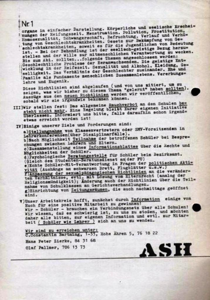 ASH, März 1968, Nr. 1, Seite 2
