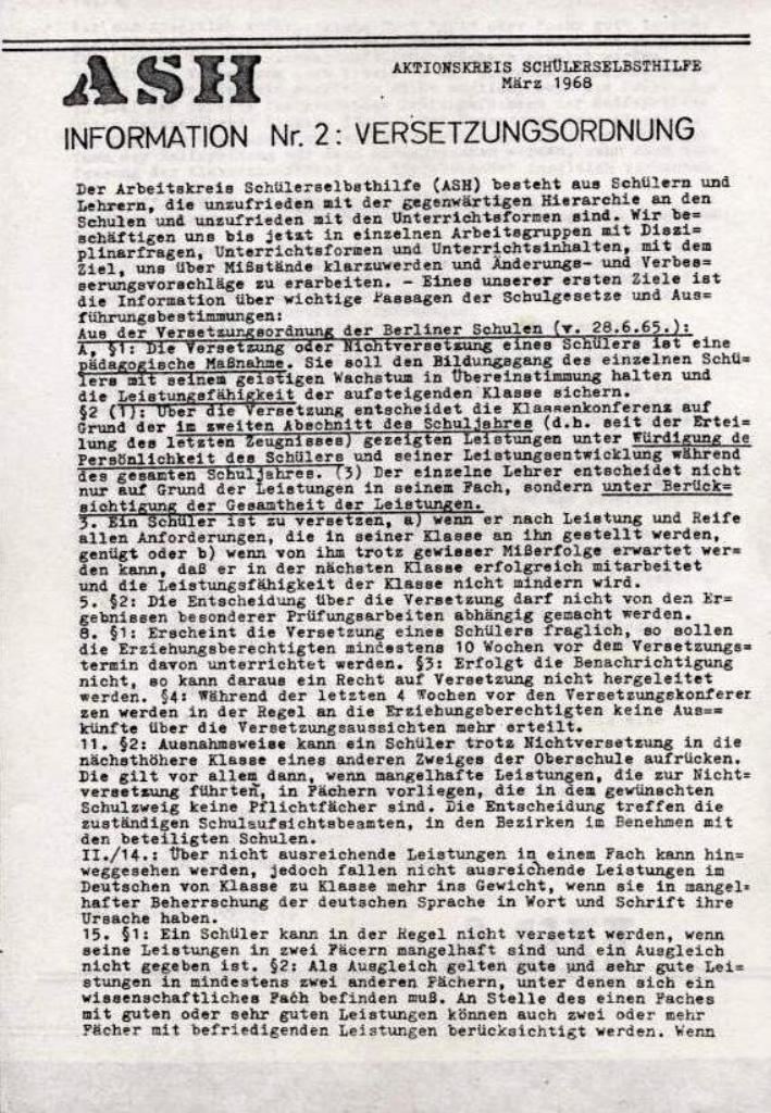 ASH, März 1968, Nr. 2, Seite 1
