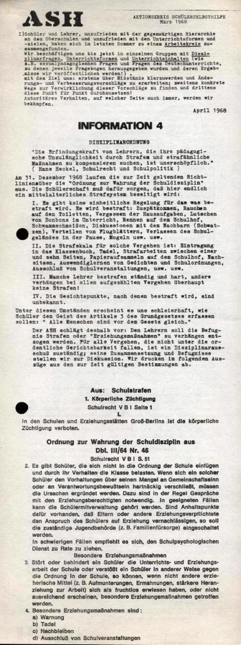 ASH, März 1968, Nr. 4, Seite 1