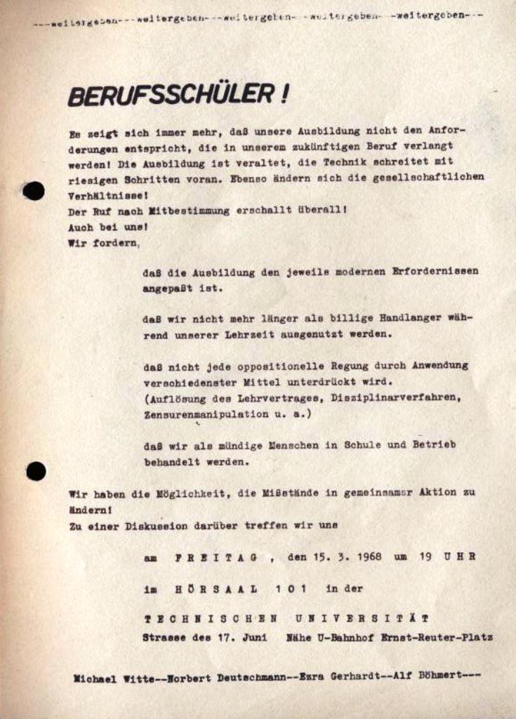 Flugblatt: Berufsschüler!