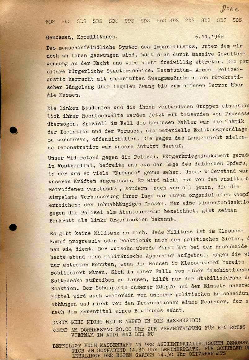 Flugblatt des SDS: Genossen, Kommilitonen (6.11.1968)