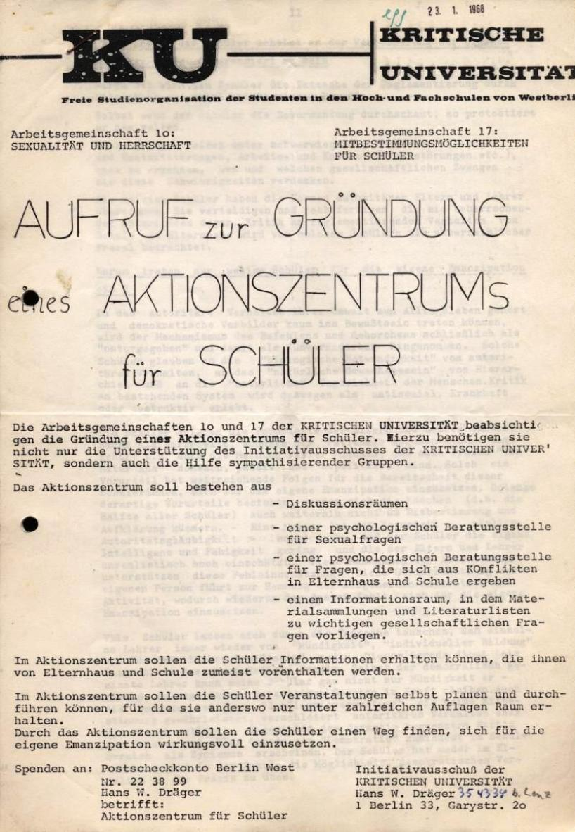 Kritische Universität, 1968, Seite 1