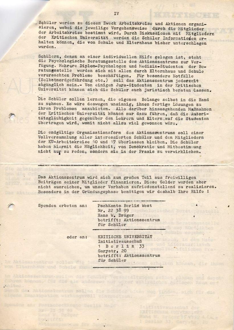 Kritische Universität, 1968, Seite 4