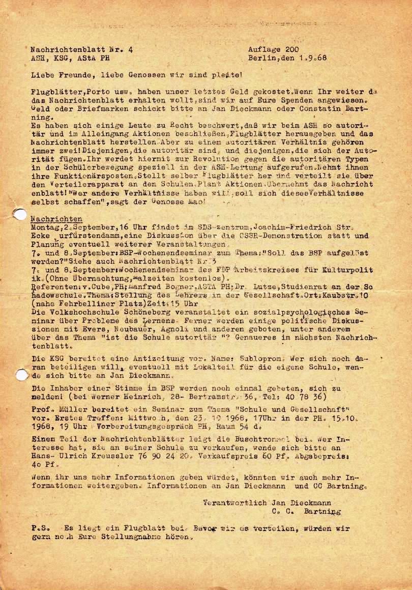 Nachrichtenblatt, Nr. 4, Berlin, 1968, Seite 1