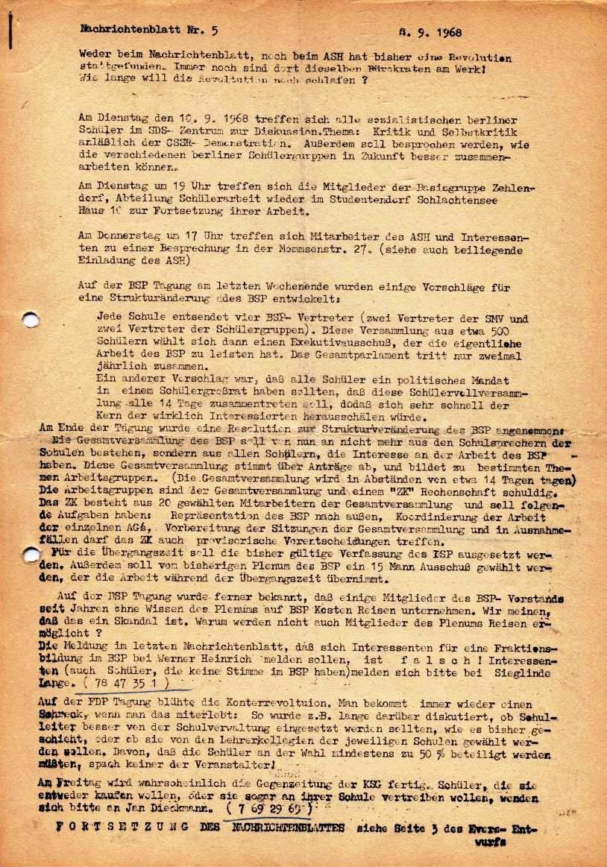 Nachrichtenblatt, Nr. 5, Berlin, 1968, Seite 1