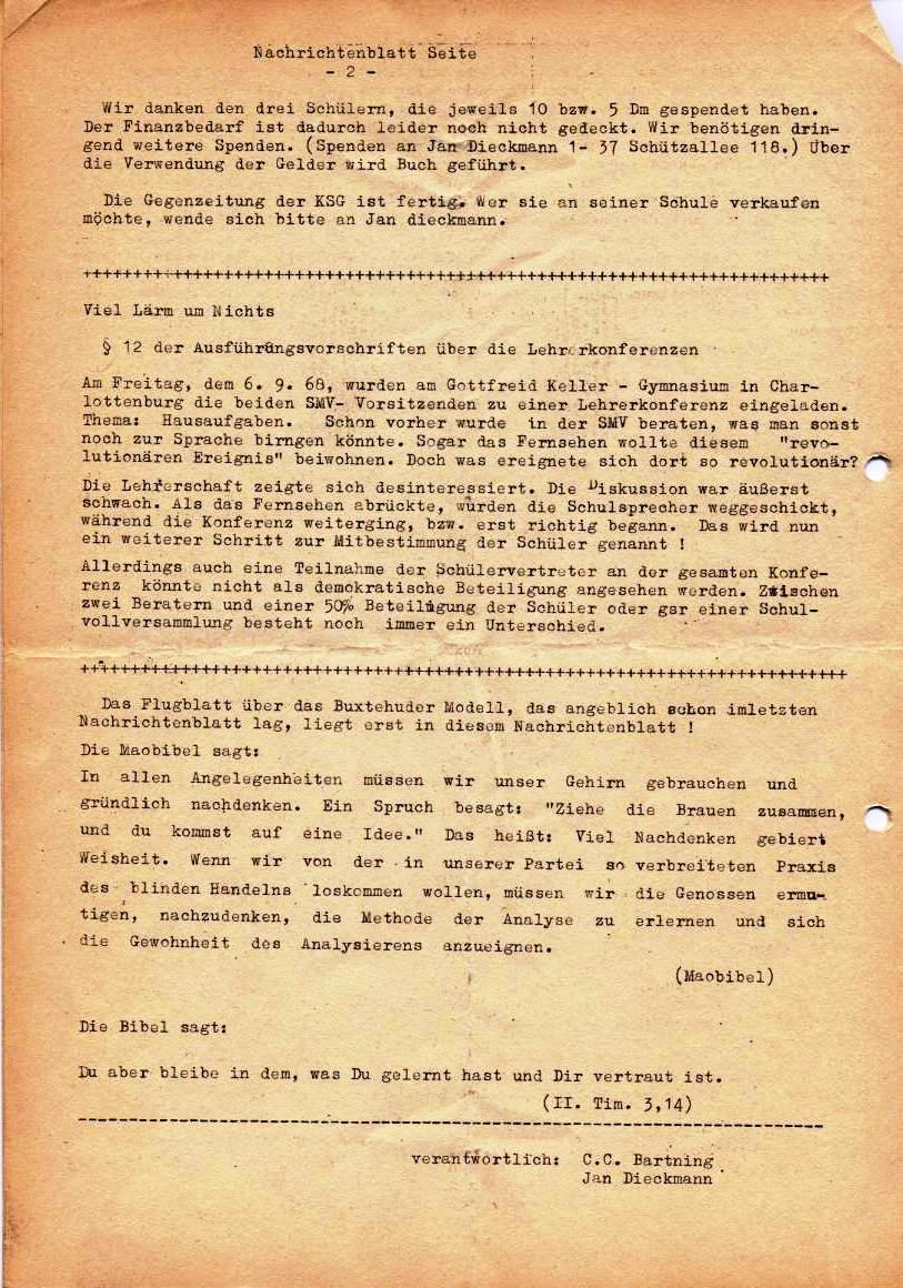 Nachrichtenblatt, Nr. 6, Berlin, 1968, Seite 2