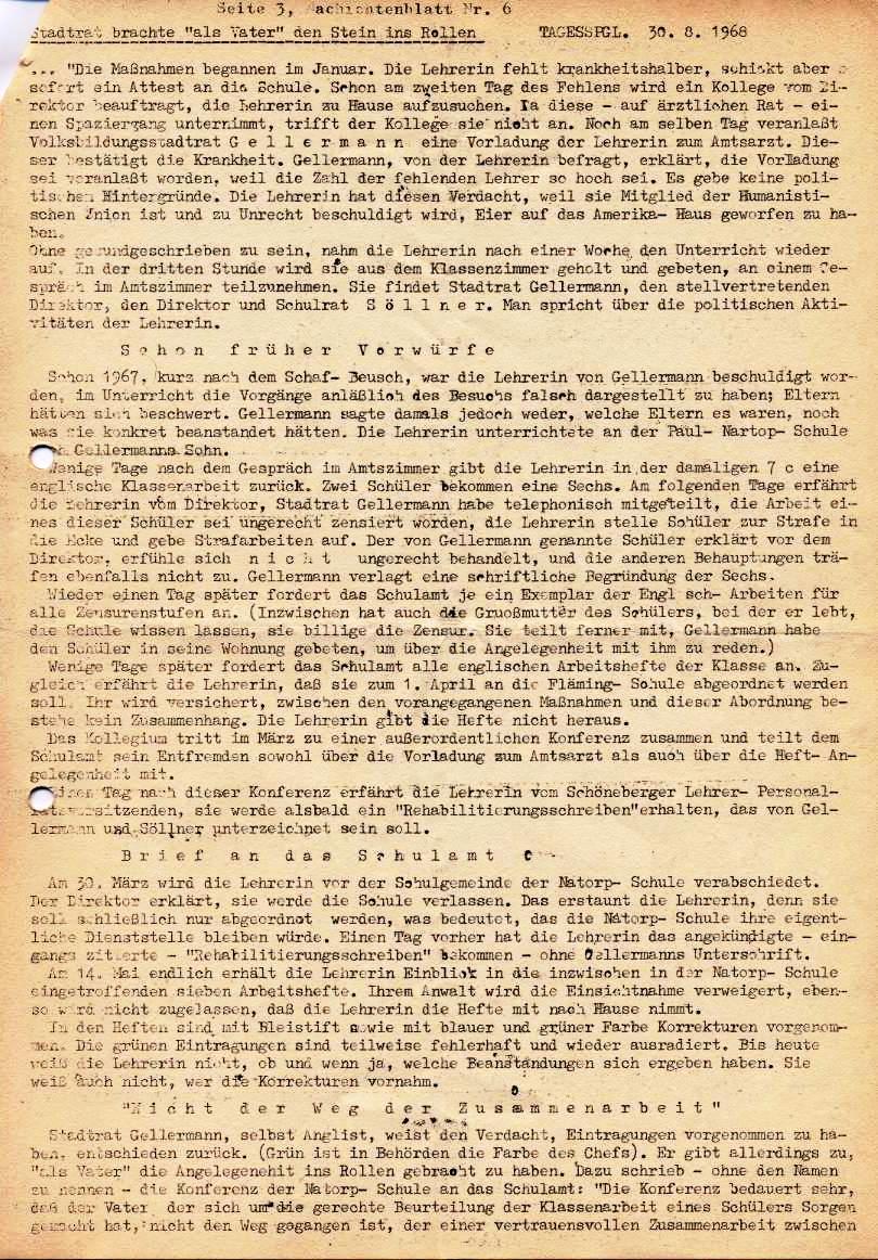 Nachrichtenblatt, Nr. 6, Berlin, 1968, Seite 3
