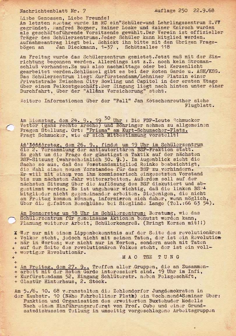 Nachrichtenblatt, Nr. 7, Berlin, 1968, Seite 1