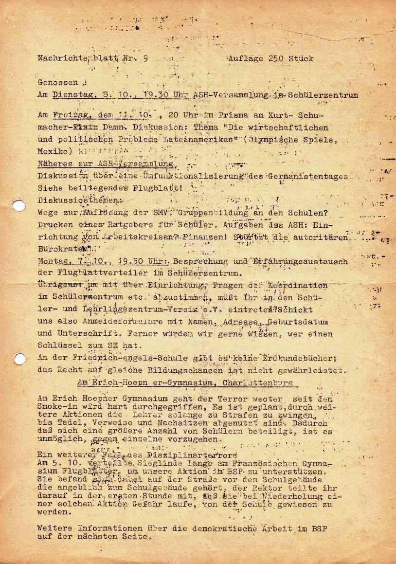 Nachrichtenblatt, Nr. 9, Berlin, 1968, Seite 1