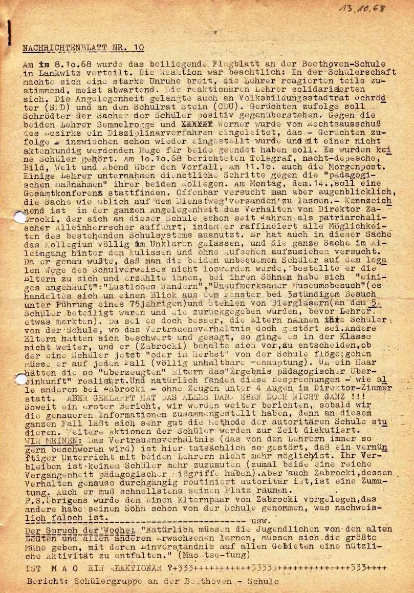 Nachrichtenblatt, Nr. 10, Berlin, 1968, Seite 1