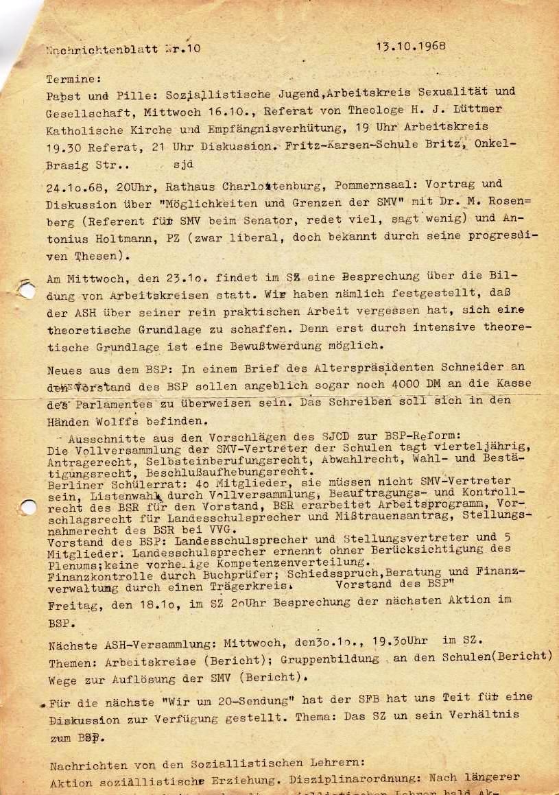Nachrichtenblatt, Nr. 10, Berlin, 1968, Seite 3