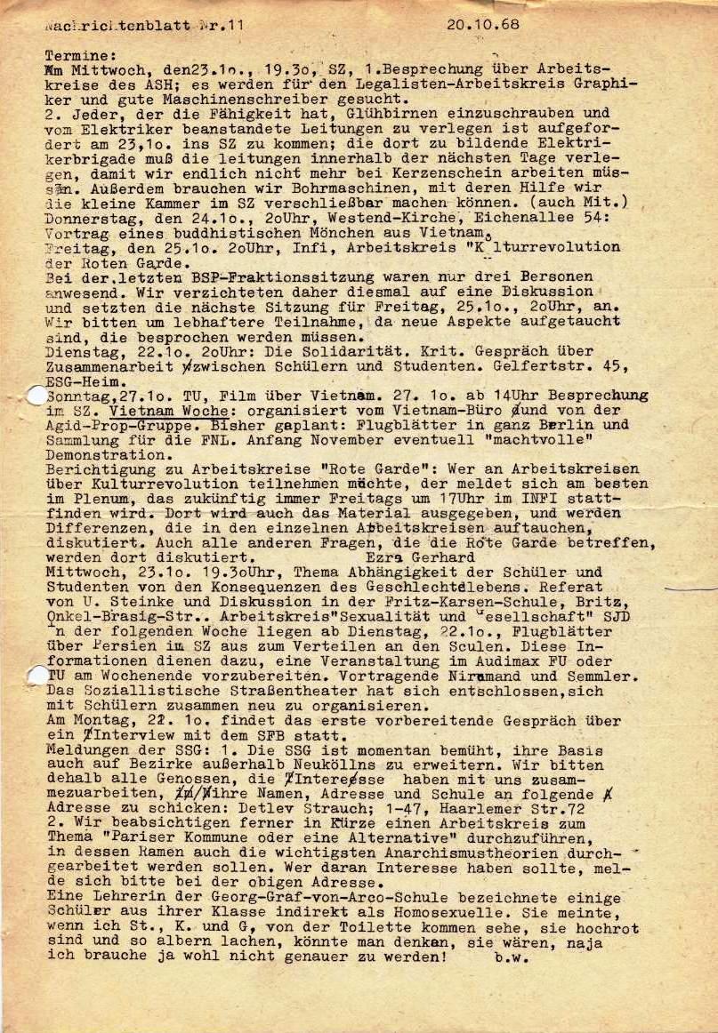 Nachrichtenblatt, Nr. 11, Berlin, 1968, Seite 1