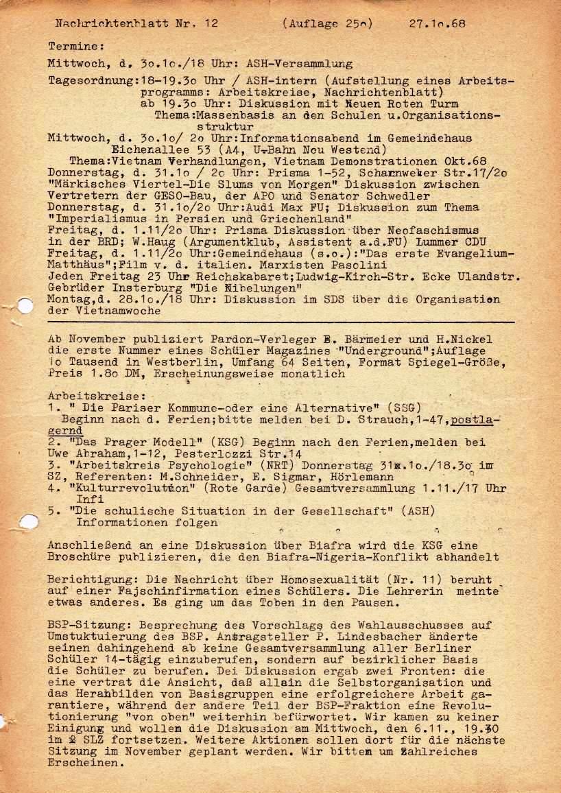 Nachrichtenblatt, Nr. 12, Berlin, 1968, Seite 1