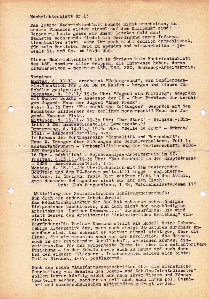 Nachrichtenblatt, Nr. 13, Berlin, 1968, Seite 1