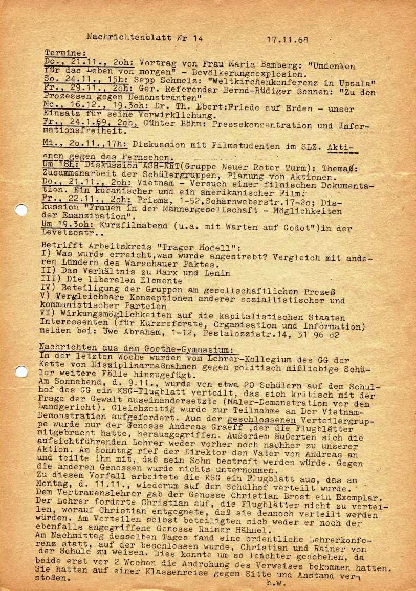 Nachrichtenblatt, Nr. 14, Berlin, 1968, Seite 1