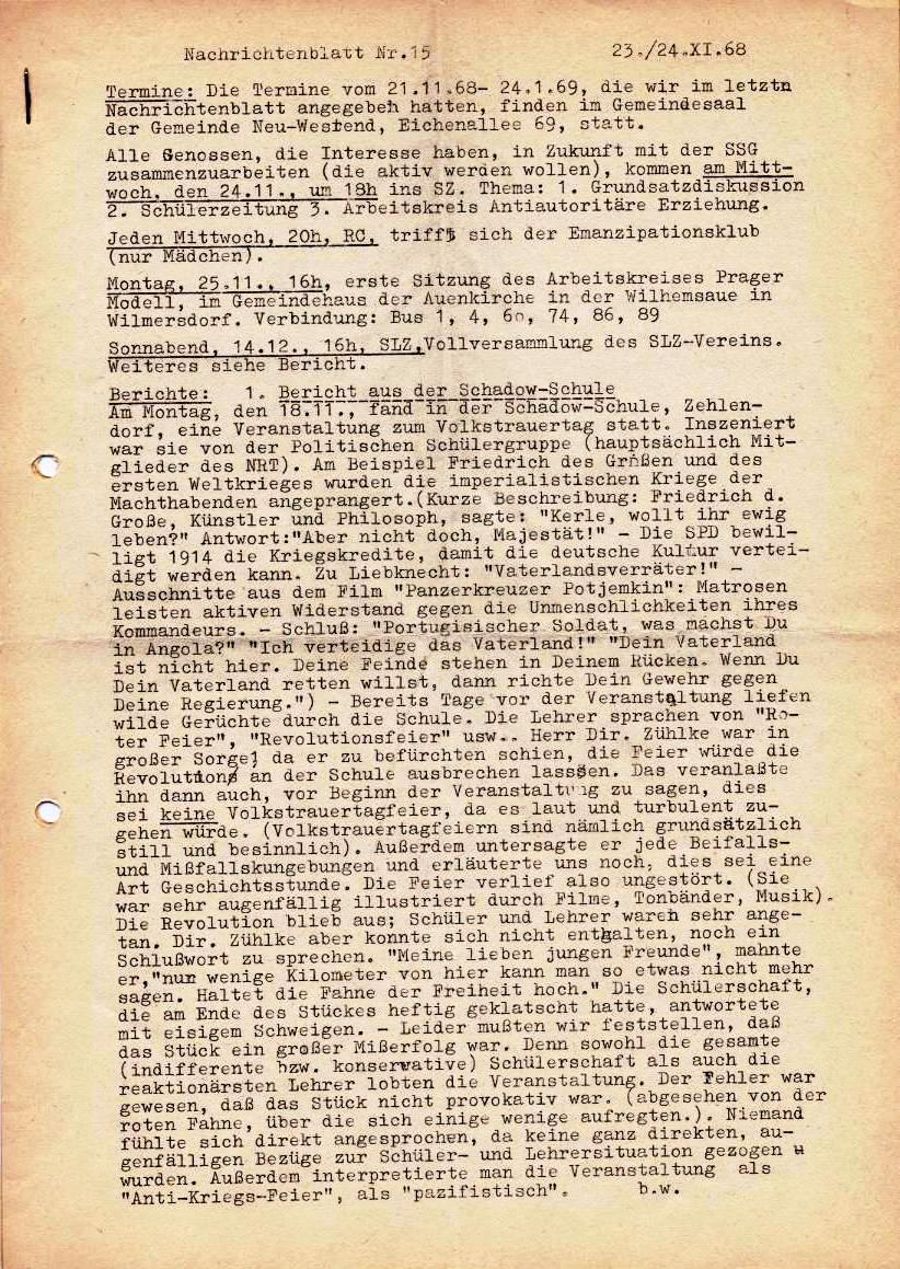 Nachrichtenblatt, Nr. 15, Berlin, 1968, Seite 1