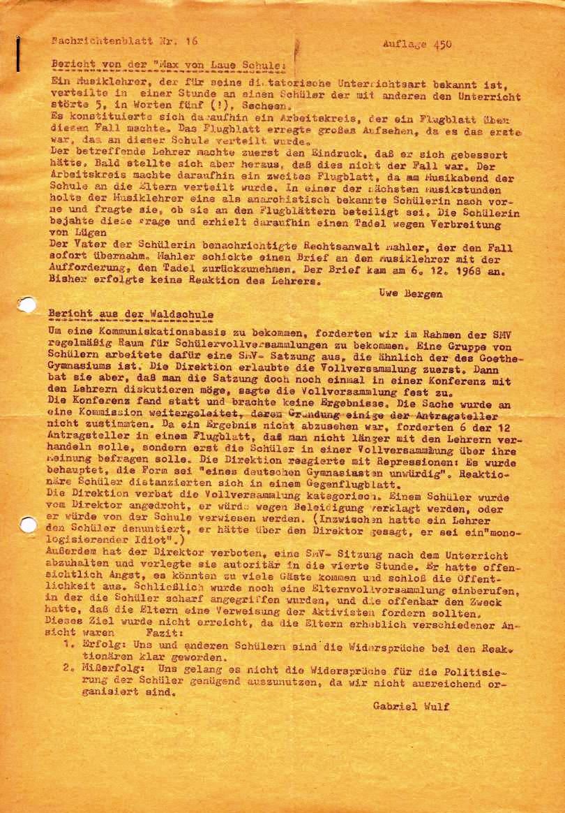 Nachrichtenblatt, Nr. 16, Berlin, 1968, Seite 1