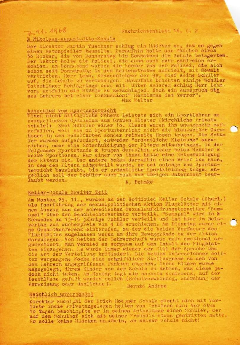 Nachrichtenblatt, Nr. 16, Berlin, 1968, Seite 2