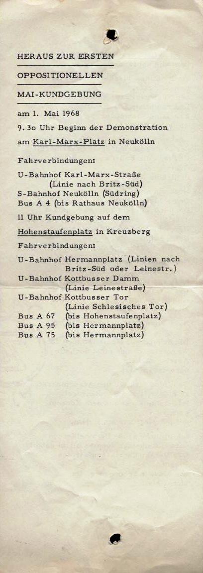 Heraus zur ersten oppositionellen Mai_Kundgebung am 1. Mai 1968
