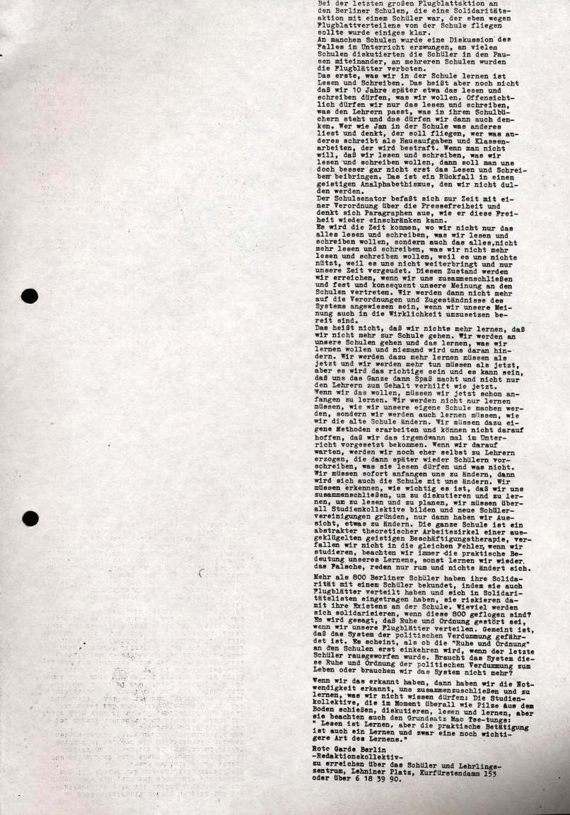 Flugblatt der RG Berlin: Bei der letzten großen Flugblattaktion