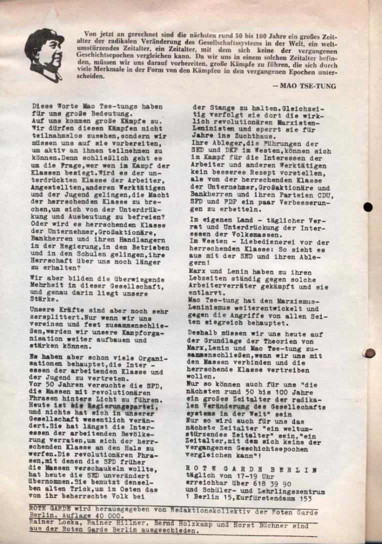 Zeitung der Roten Garde Berlin, Nr. 1/1969, S. 2