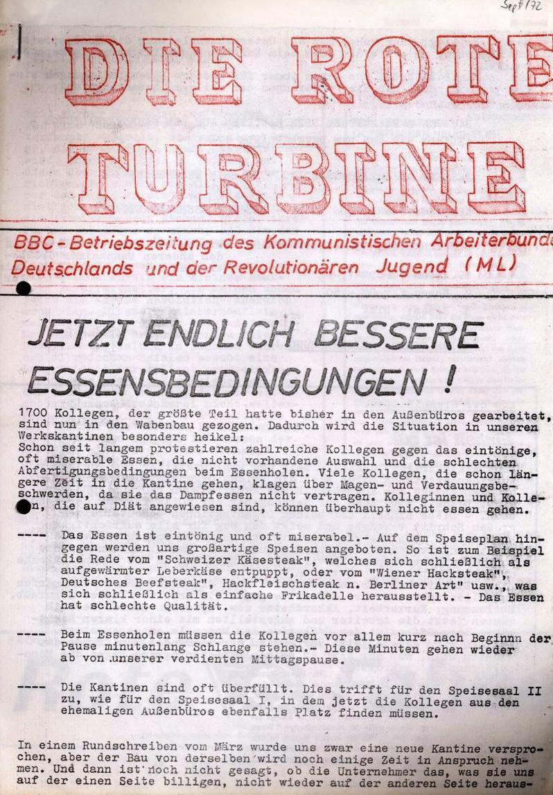 Die Rote Turbine _ BBC_Betriebszeitung des KABD und der RJ(ML) (wahrscheinlich September 1972)