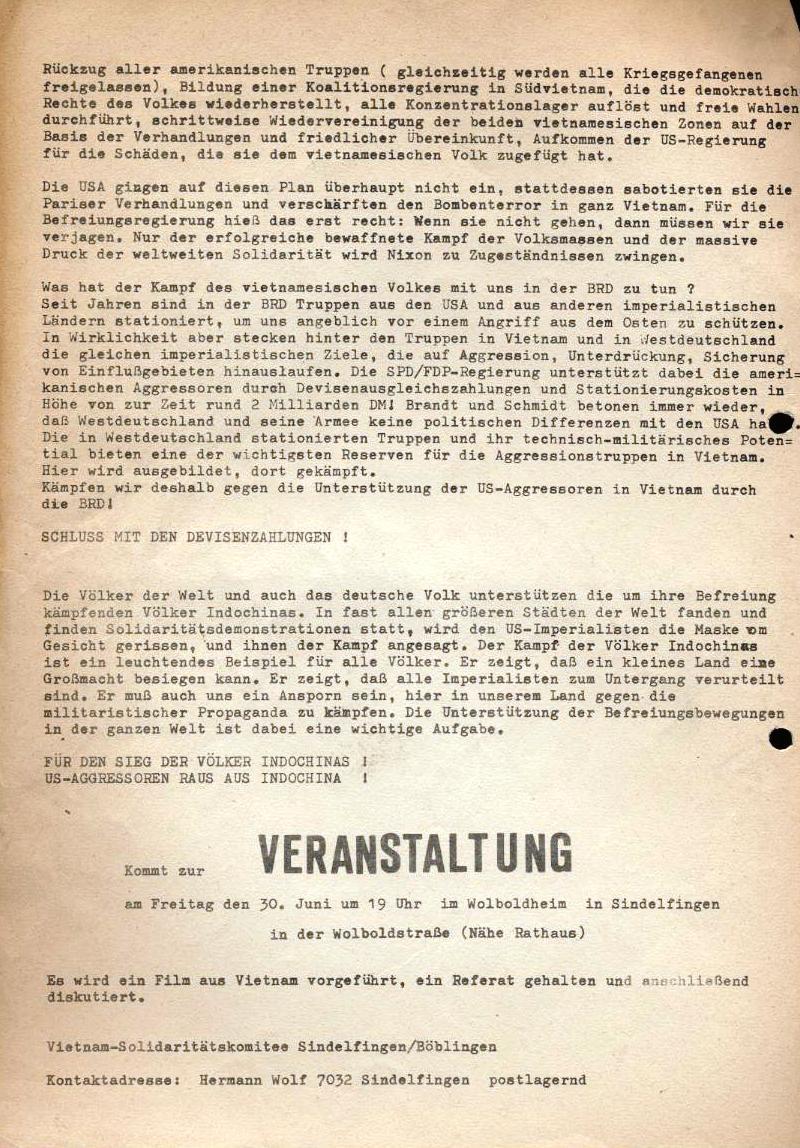Vietnam dem Sieg entgegen (Flugblatt, 1972, Rückseite)