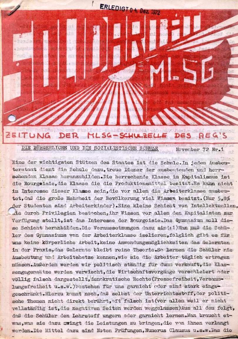 Solidarität _ Zeitung der MLSG_Schulzelle des AEG's, Nr. 1, November 1972