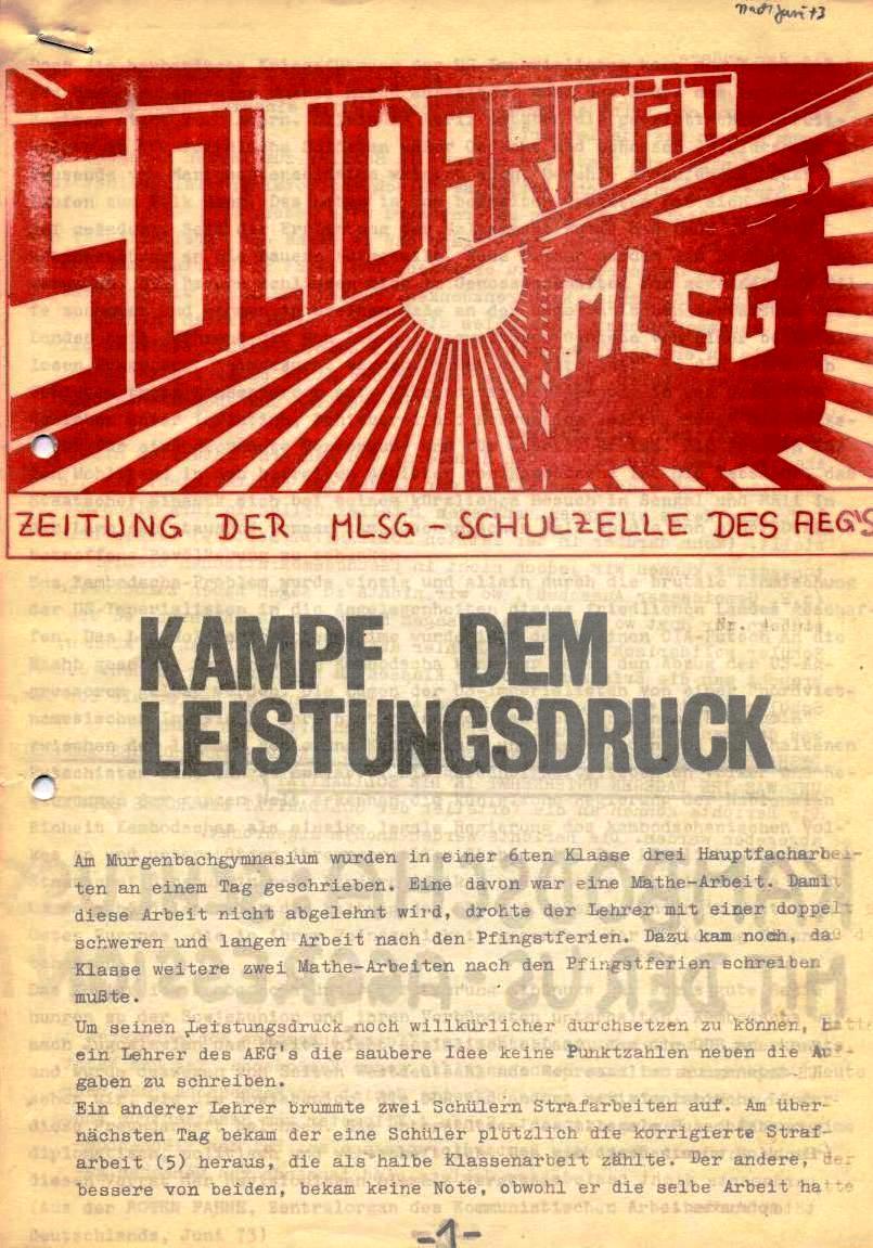 Solidarität _ Zeitung der MLSG_Schulzelle des AEG's [1973]