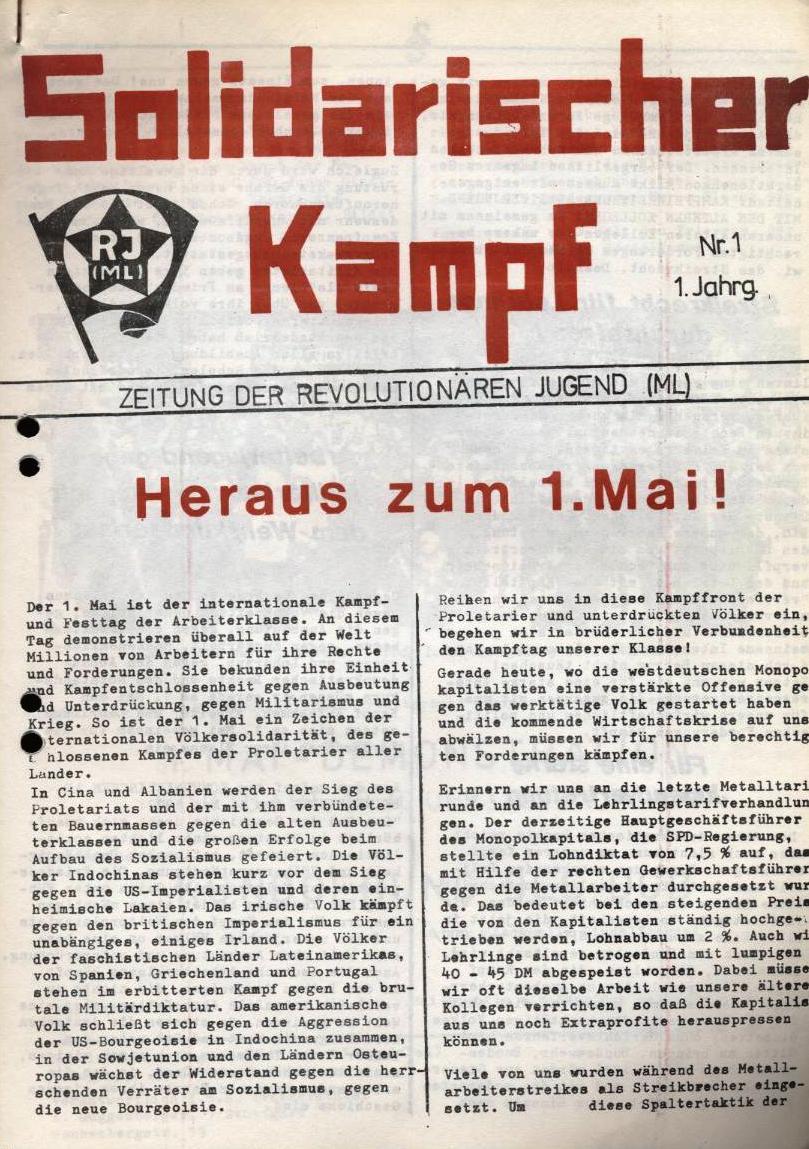 Solidarischer Kampf _ Zeitung der Revolutionären Jugend (ML), Nr. 1, 1. Jg. [1972] (Titelseite)