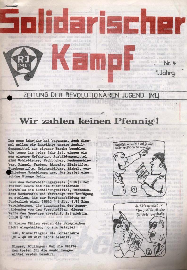 Solidarischer Kampf _ Zeitung der Revolutionären Jugend (ML), Nr. 4, 1. Jg. [1972] (Titelseite)
