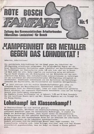 Rote Bosch_Fanfare, Zeitung des Kommunistischen Arbeiterbundes (Marxisten_Leninisten) für Bosch