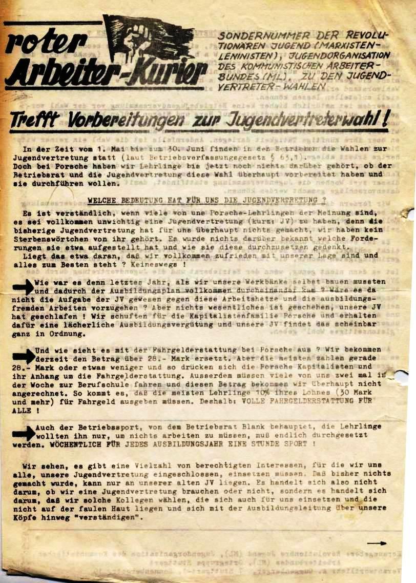 Roter Arbeiter_Kurier, Sondernummer der RJ/ML zu den Jugendvertreter_Wahlen (1971, Vorderseite)