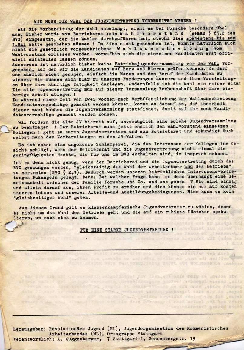 Roter Arbeiter_Kurier, Sondernummer der RJ/ML zu den Jugendvertreter_Wahlen (1971, Rückseite)