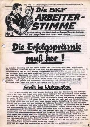 Die SKF_Arbeiterstimme _ Betriebszeitung der RJ/ML Schweinfurt für die Belegschaft von SKF, Werk Stuttgart, Nr. 2 (Titelseite)