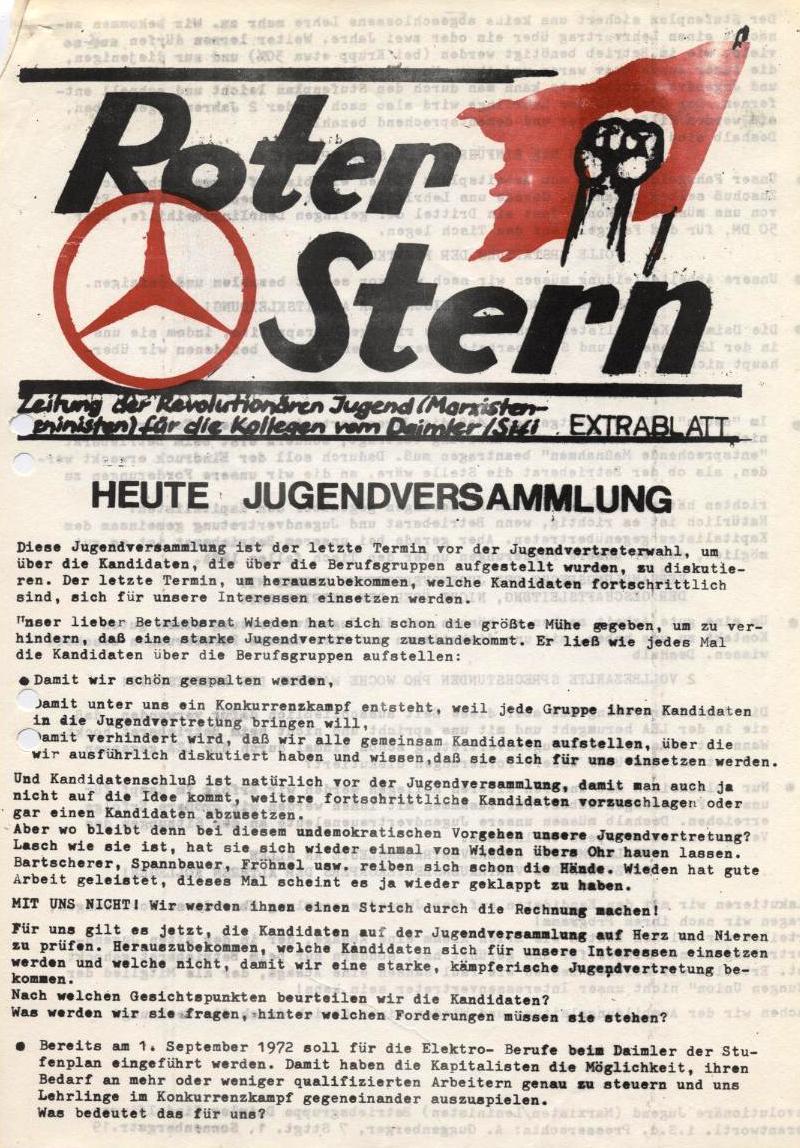 Roter Stern _ Zeitung der Revolutionären Jugend (Marxisten_Leninisten) für die Kollegen vom Daimler/Sifi, Extrablatt (Titelseite)