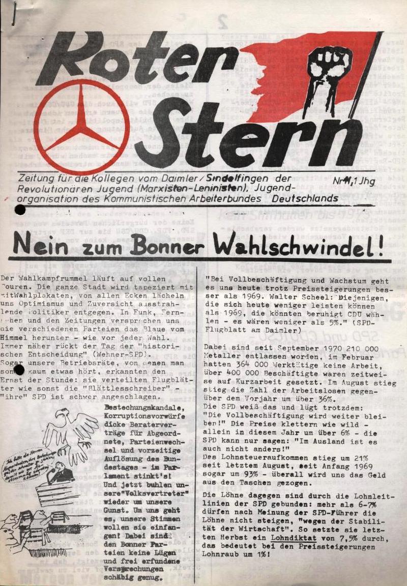 Roter Stern _ Zeitung für die Kollegen vom Daimler/Sindelfingen der Revolutionären Jugend (Marxisten_Leninisten), Jugendorganisation des Kommunistischen Arbeiterbundes Deutschlands, Nr. 11, 1. Jg. (Titelseite
