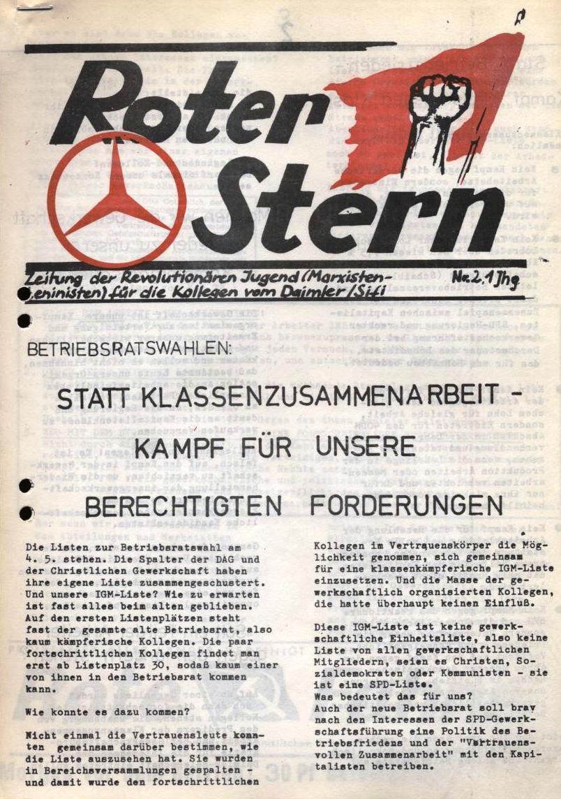 Roter Stern _ Zeitung der Revolutionären Jugend (Marxisten_Leninisten) für die Kollegen vom Daimler/Sifi, Nr.2, 1. Jg. (Titelseite)