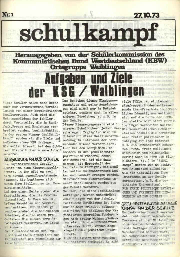 Schulkampf, hg. von der Schülerkommission des KBW, Ortsgruppe Waiblingen, Nr. 1, 27.10.1973, Seite 1