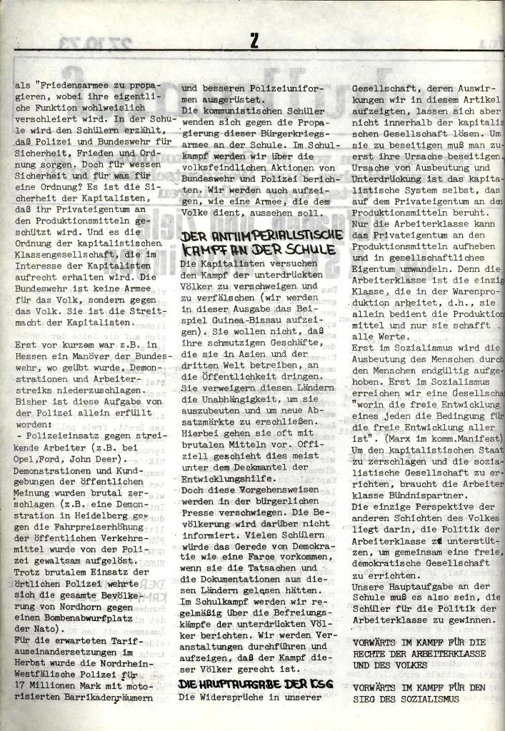 Schulkampf, hg. von der Schülerkommission des KBW, Ortsgruppe Waiblingen, Nr. 1, 27.10.1973, Seite 2